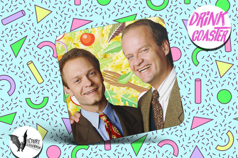 Frasier and Niles Crane Drink COASTER  | gifts for him Boyfriend gift her Girlfriend tv coasters tossed salads scrambled eggs