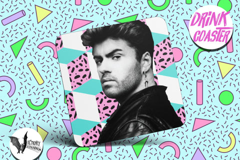 George Michael Drink COASTER |  wham Music UK gifts for him Boyfriend gift her Girlfriend artist coasters gay legends Love Him