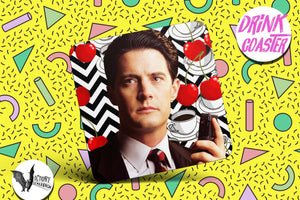 Agent Dale Cooper Drink COASTER  | Twin Peaks tv show gifts for him Boyfriend gift her Girlfriend cherry pie Coffee  gifts for 5 and under