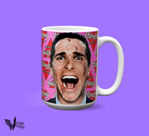 American Psycho MUG  | Christian Bale horror lover gifts for HIM her serial killer fans Huey Lewis pop culture movie Patrick Bateman