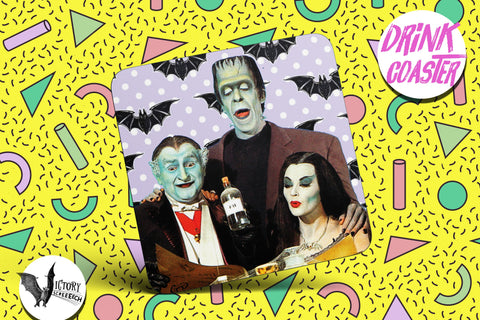 Munsters Drink COASTER  | tv Herman Lily and Grandpa gifts for him Boyfriend gift her Girlfriend classic TV shows goth gifts kitsch