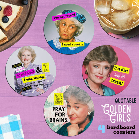 Golden Girls Quotes Coaster Set  | Dorothy Rose Blanche Sophia quotable Best Friend Gifts Mothers Day for her tv show gifts for silly people