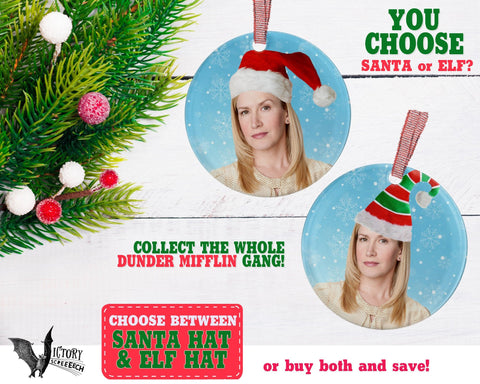 Angela Martin ORNAMENT  | The Office santa hat Dunder Mifflin Scranton  funny gifts Decorate Christmas elf xmas tree decor Pop Culture TV