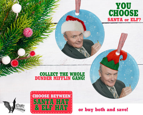 Creed Bratton ORNAMENT  | The Office santa hat Dunder Mifflin Scranton  funny gifts Decorate Christmas elf xmas tree decor Pop Culture TV