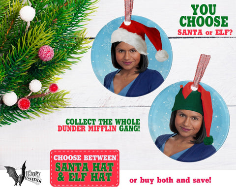 Kelly Kapoor ORNAMENT |  The Office santa hat Dunder Mifflin Scranton CUTE funny gifts Decorate Christmas elf xmas tree decor Pop Culture TV