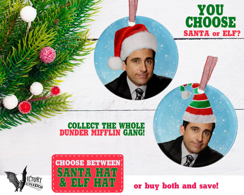 Michael Scott ORNAMENT |  The Office santa hat Dunder Mifflin Scranton funny gifts Decorate Christmas elf xmas tree decor Pop Culture TV