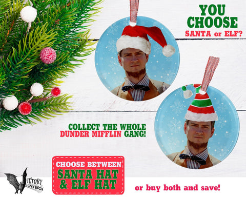 Mose Schrute ORNAMENT |  The Office santa hat Dunder Mifflin Scranton CUTE funny gifts Decorate Christmas elf xmas tree decor Pop Culture TV