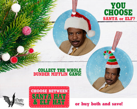 Stanley Hudson ORNAMENT  | The Office santa hat Dunder Mifflin Scranton funny gifts Decorate Christmas elf xmas tree decor Pop Culture TV
