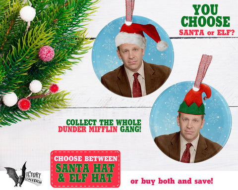 Toby Flenderson ORNAMENT  | The Office santa hat Dunder Mifflin Scranton  funny gifts Decorate Christmas elf xmas tree decor Pop Culture TV