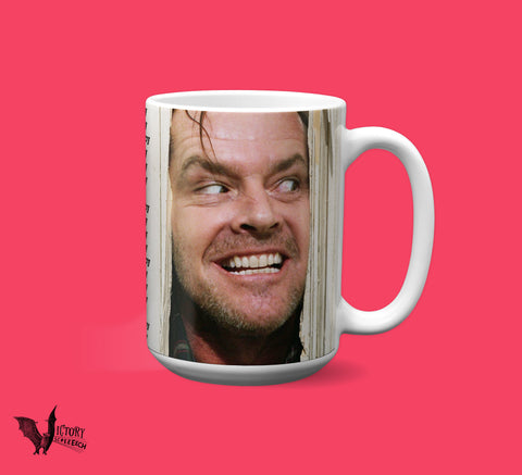 The Shining MUG  | Here's Johnny jack nicholson Stephen King Horror Movie Gifts Kubrick All Work No Play dull boy Overlook Hotel Writer Gift