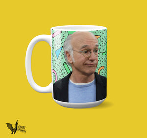 Larry David Mug  | Curb Your Enthusiasm some vanilla latte cappa bullshit long balls larry LD bring ruckus TV gifts for dad fathers HER Him