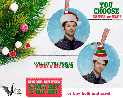 Ben Wyatt ORNAMENT  | Parks and Recreation santa hat CUTE funny gifts for him Decorate for Christmas elf hat xmas tree decor Pop Culture TV