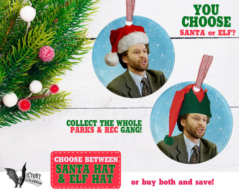 Councilman Jamm ORNAMENT  | Parks and Recreation santa hat CUTE funny gifts Decorate for Christmas elf hat xmas tree decor Pop Culture TV