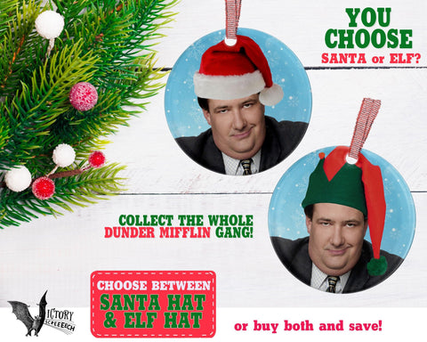 Kevin Malone ORNAMENT |  The Office santa hat Dunder Mifflin Scranton CUTE funny gifts Decorate Christmas elf xmas tree decor Pop Culture TV