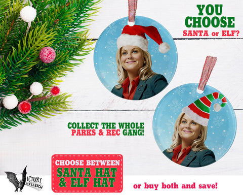 Leslie Knope ORNAMENT  | Parks and Recreation santa hat CUTE funny gifts Decorate for Christmas elf hat xmas tree decor Pop Culture TV