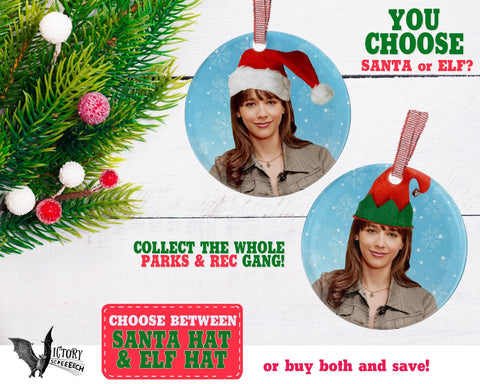 Ann Perkins ORNAMENT  | Parks and Recreation santa hat  funny gifts for her Decorate for Christmas elf hat xmas tree decor Pop Culture TV