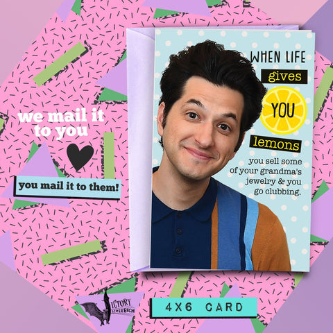 Jean Ralphio Cheer Up Card | Parks and Rec funny cards for him boyfriend coworker gifts Pawnee Lemons Bad Advice Clubbin