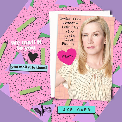 Angela Martin Insult Friendship Card | The Office funny cards for her BFF slut card Girlfriend coworker gifts Dunder Mifflin best boss ever