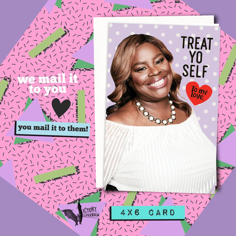 Donna Meagle Treat Yo Self Valentine Card | Parks and Recreation funny cards for him boyfriend coworker gifts Pawnee Valentine parks rec