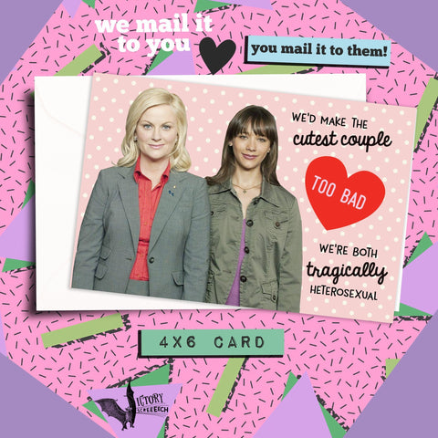 Leslie and Ann Tragically Heterosexual Galentine Card | Parks and Rec Knope funny cards for her Girlfriend coworker gifts Pawnee Valentine