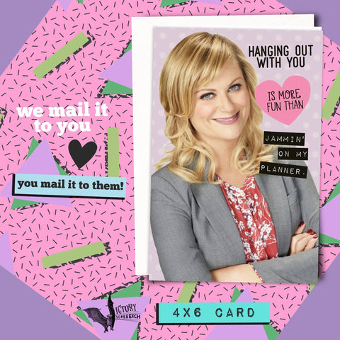 Leslie Knope Jammin Valentine Card  | Parks and Recreation funny cards for her Girlfriend coworker gifts Pawnee Valentine parks and rec
