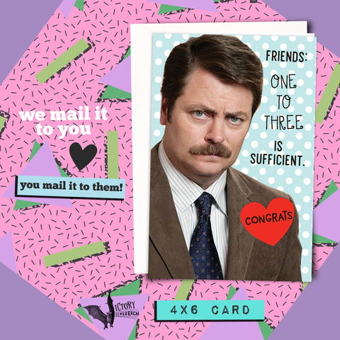 Ron Swanson Friendship Manly Card | Parks and Recreation funny cards for him boyfriend coworker gifts Pawnee Valentine parks and rec