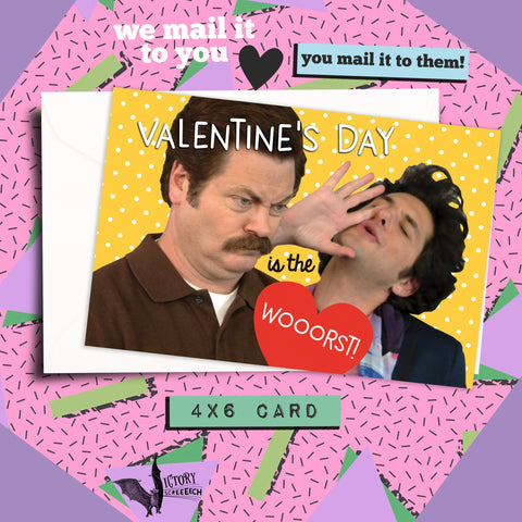 Jean Ralphio Valentines Day is the Worst Card | Parks and Rec funny cards for him boyfriend coworker gifts Pawnee Valentine Galentine