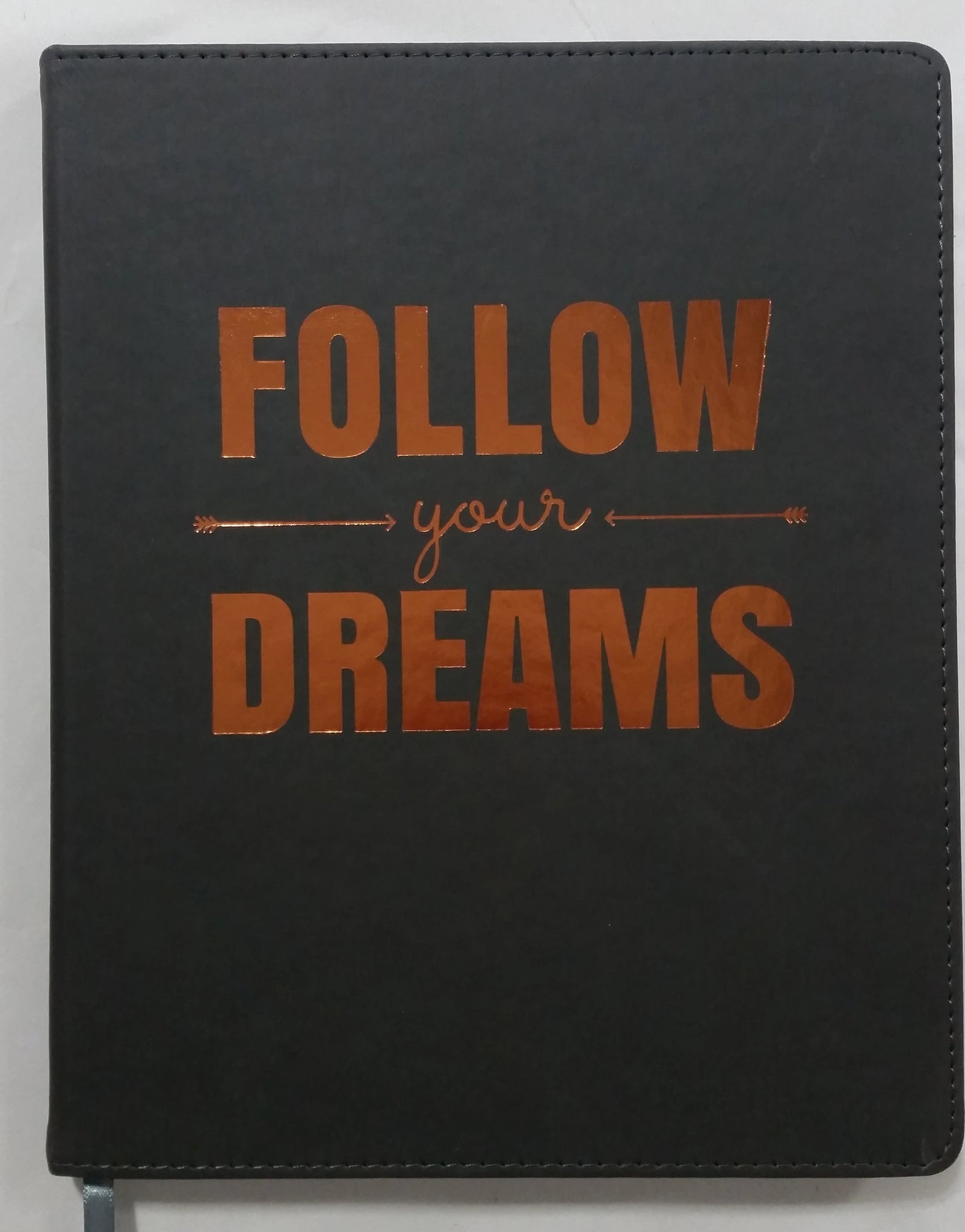 Follow Your Dreams in copper on grey faux leather Eccolo Desk Journal