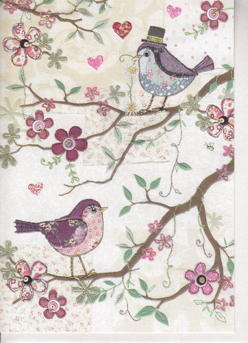 Two Birds Bug Art Greeting Card A029 Anniversary gift card designed by jane crowther birds in a tree