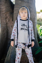Load image into Gallery viewer, boy wearing chameleon print hooded cardigan raglan tee tshirt long sleeve top and pants aster and oak designed in Australia