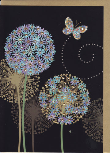 blue alliums bug art greeting card M120 designed by jane crowther gift