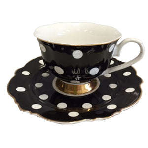 Black and White Spots Teacup and Saucer Set