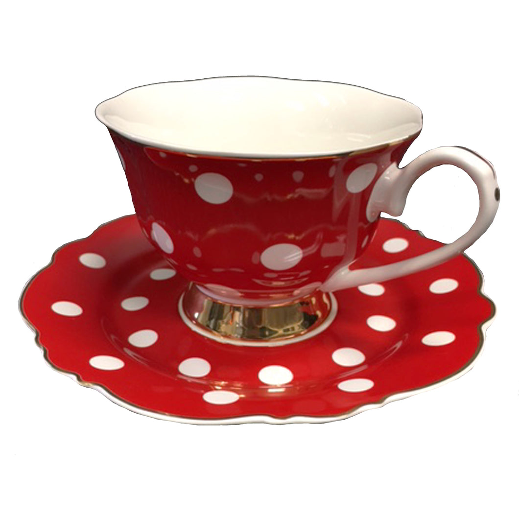 Red and White Spots Teacup and Saucer Set