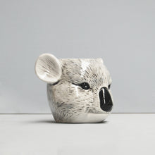 Load image into Gallery viewer, angled view ceramic koala planter pot plant crazy plant lady gift idea birthday housewarming unique home decor white moose