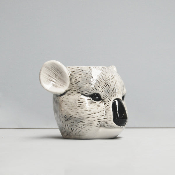 angled view ceramic koala planter pot plant crazy plant lady gift idea birthday housewarming unique home decor white moose