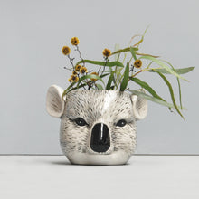 Load image into Gallery viewer, ceramic koala head planter native australian flora and fauna white moose australian designer homewares and gifts home decor pot plant