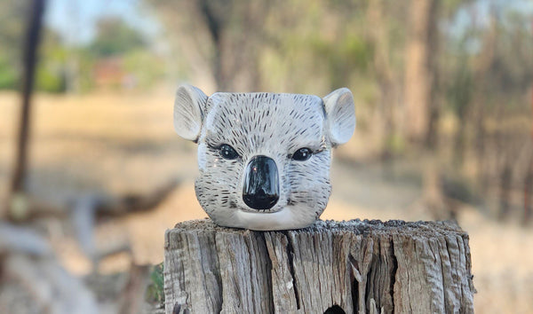cute ceramic koala planter sitting on tree stump in australian bush
