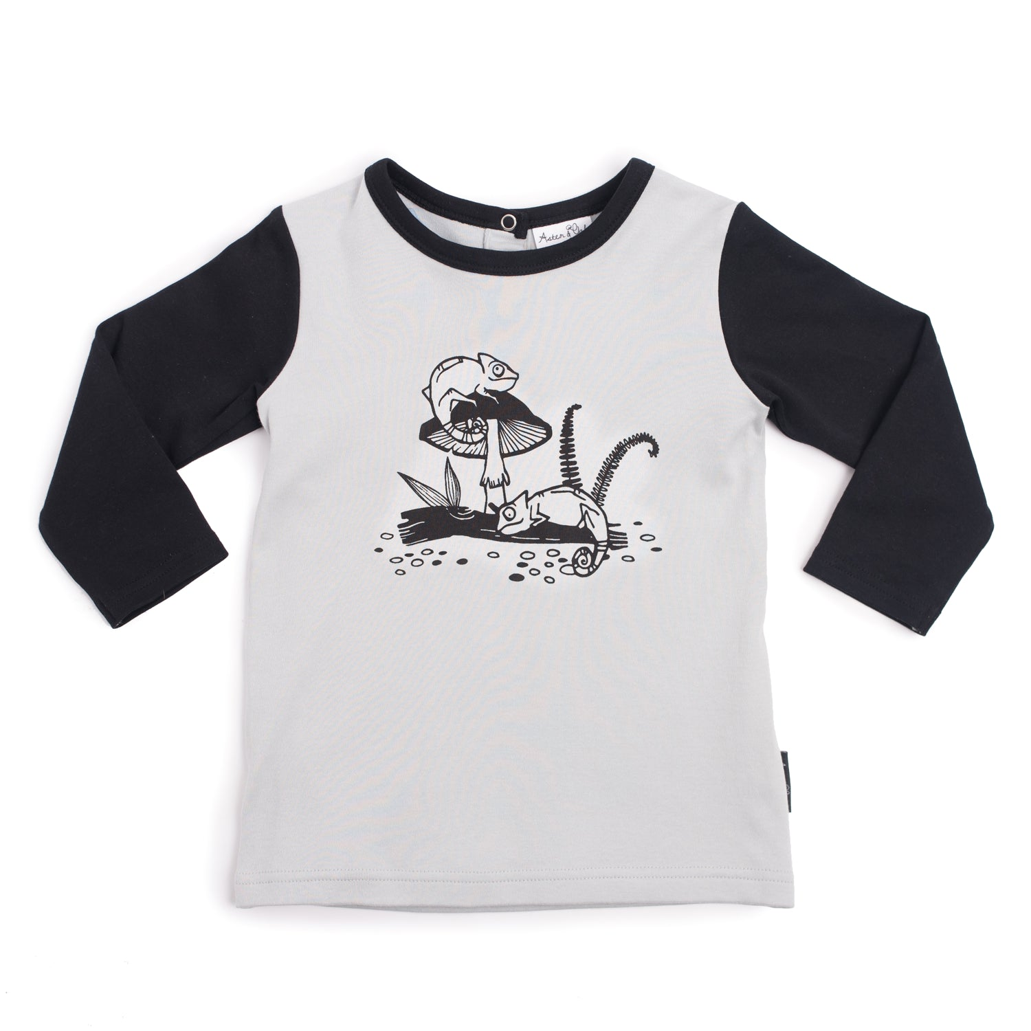 Aster & Oak Chameleon Print Raglan Tee boys top black and grey