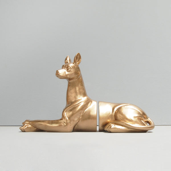 gold dog resin bookends by white moose australian designer cool home decor interior style unique dog lovers gift