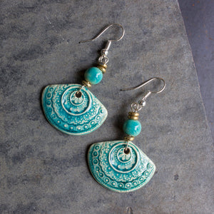Ceramic Fan Earrings - Aqua - Designed in SA