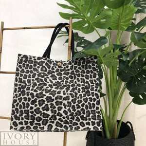 Jute Market Bag by Ivory House - Grey Animal Print