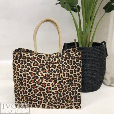 Jute Market Bag by Ivory House - Brown Animal Print
