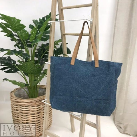 Washed Canvas Bag by Ivory House - Denim Blue