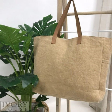 Ivory House jute canvas bag natural oatmeal leather straps bag with plant