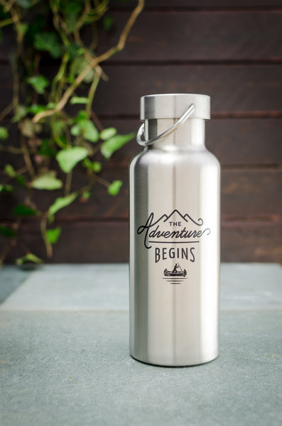 Stainless Steel Water Bottle 500ml The Adventure Begins