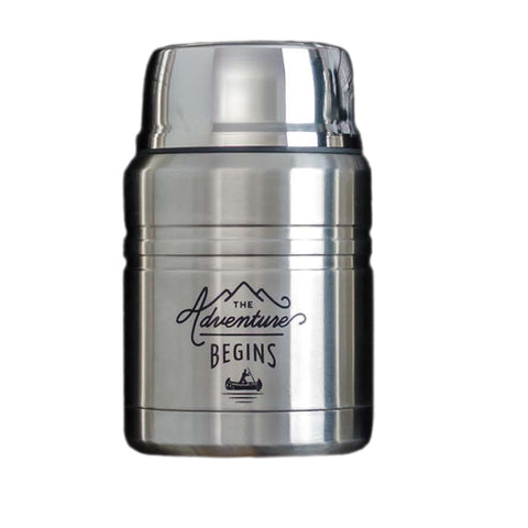 Stainless Steel Food Flask with Spoon 500ml The Aventure Begins