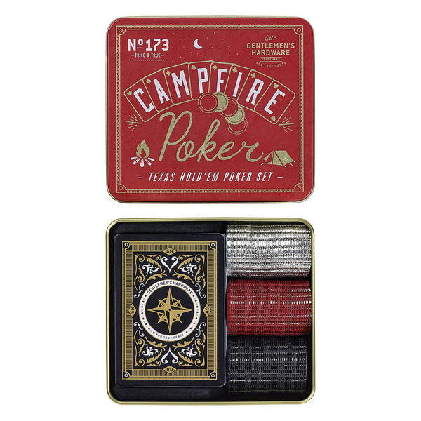 gentlemen's hardware campfire poker set in metal tin