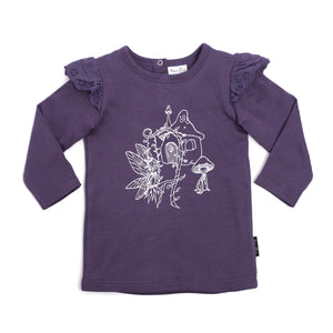 aster and oak fairy garden print flutter tee purple girls top long sleeve for autumn and winter