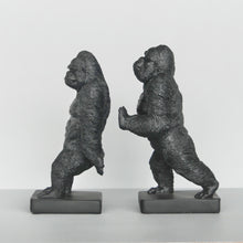 Load image into Gallery viewer, black resin gorilla bookends australian designed homewares and gifts white moose twin gorillas hold book collection bookshelf decor quirky home decor