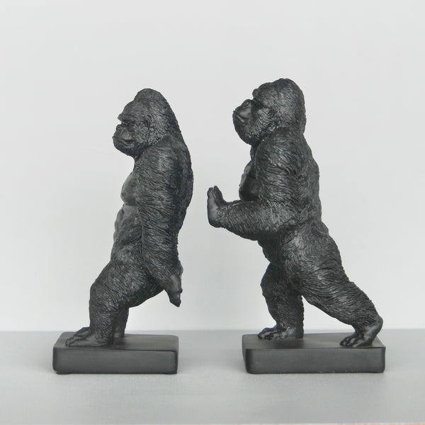 black resin gorilla bookends australian designed homewares and gifts white moose twin gorillas hold book collection bookshelf decor quirky home decor